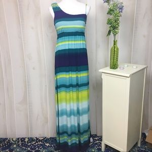 Soma Blue and Teal Striped One Shoulder Maxi Dress